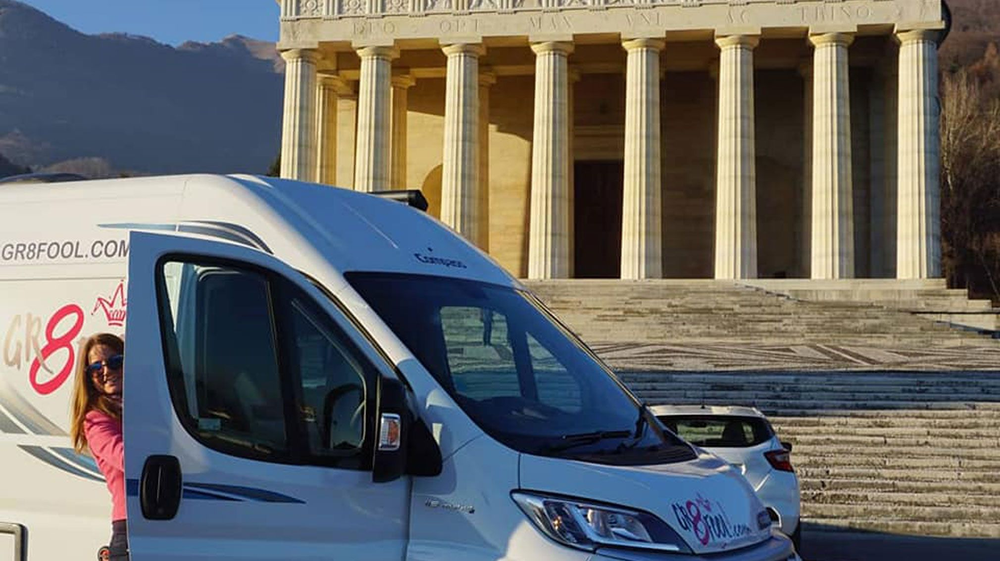 TheGr8Fool with the Compass Avantgarde campervan in front of Roman ruins