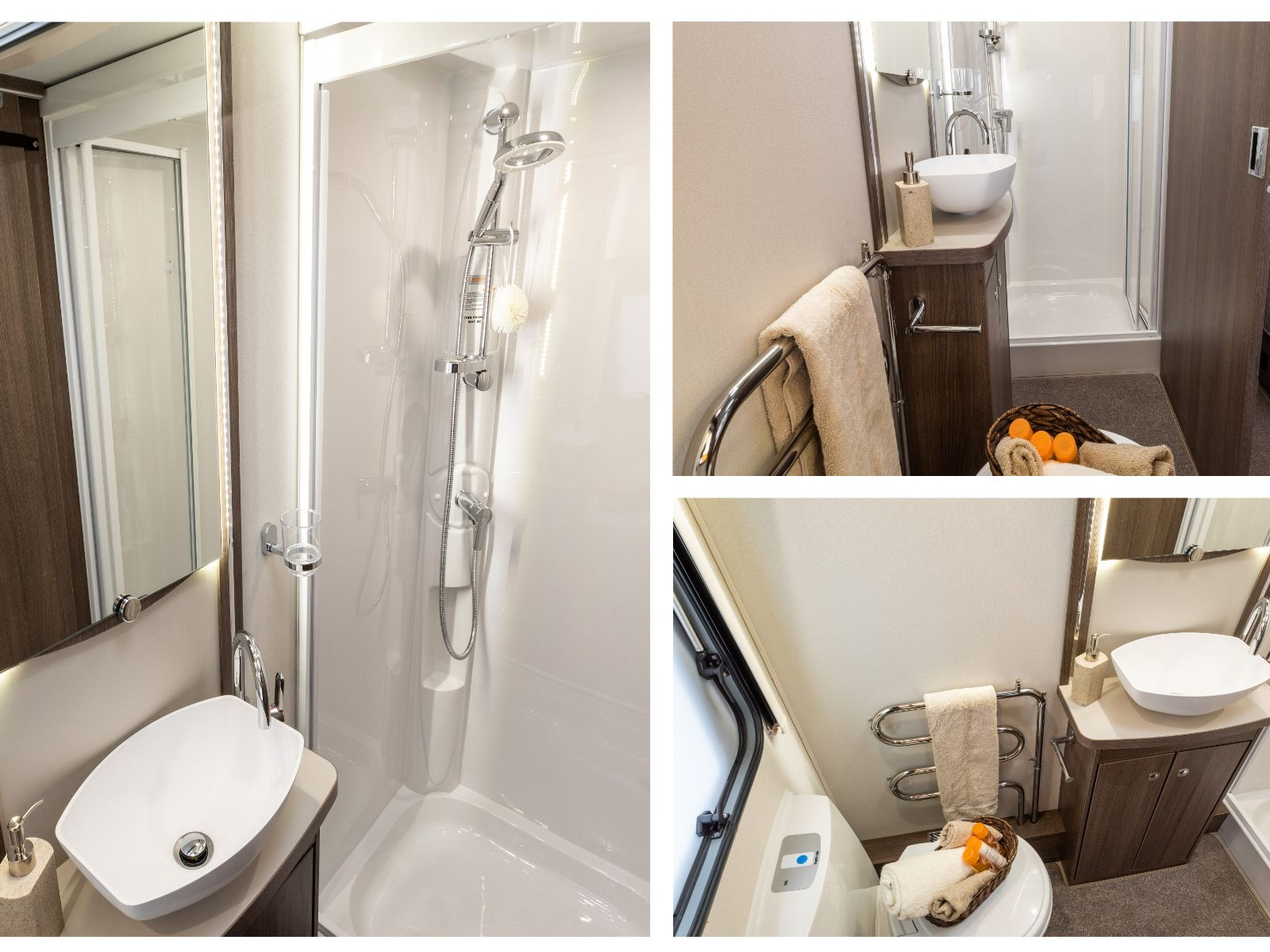 Bathroom collage with sink, walk in shower and toilet with assortment of toiletries'