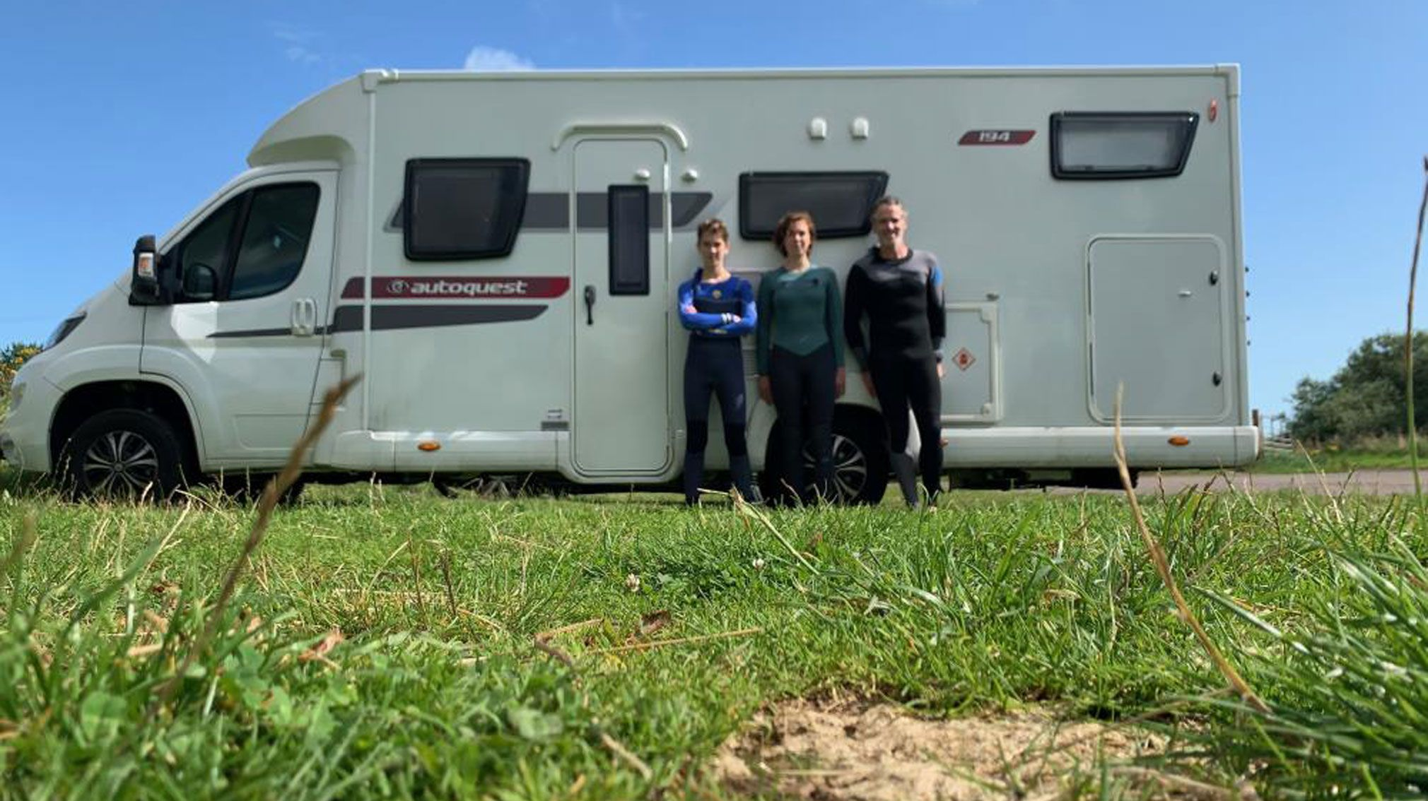 Gordon Buchanan with his children next to the Elddis Autoquest