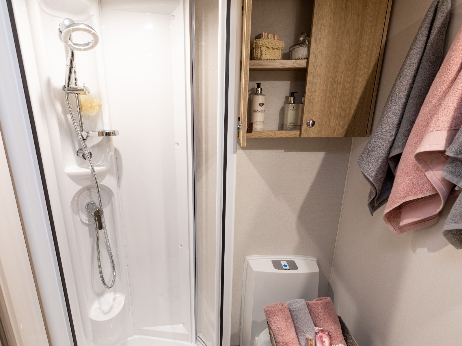 Shower and storage in the bathroom'