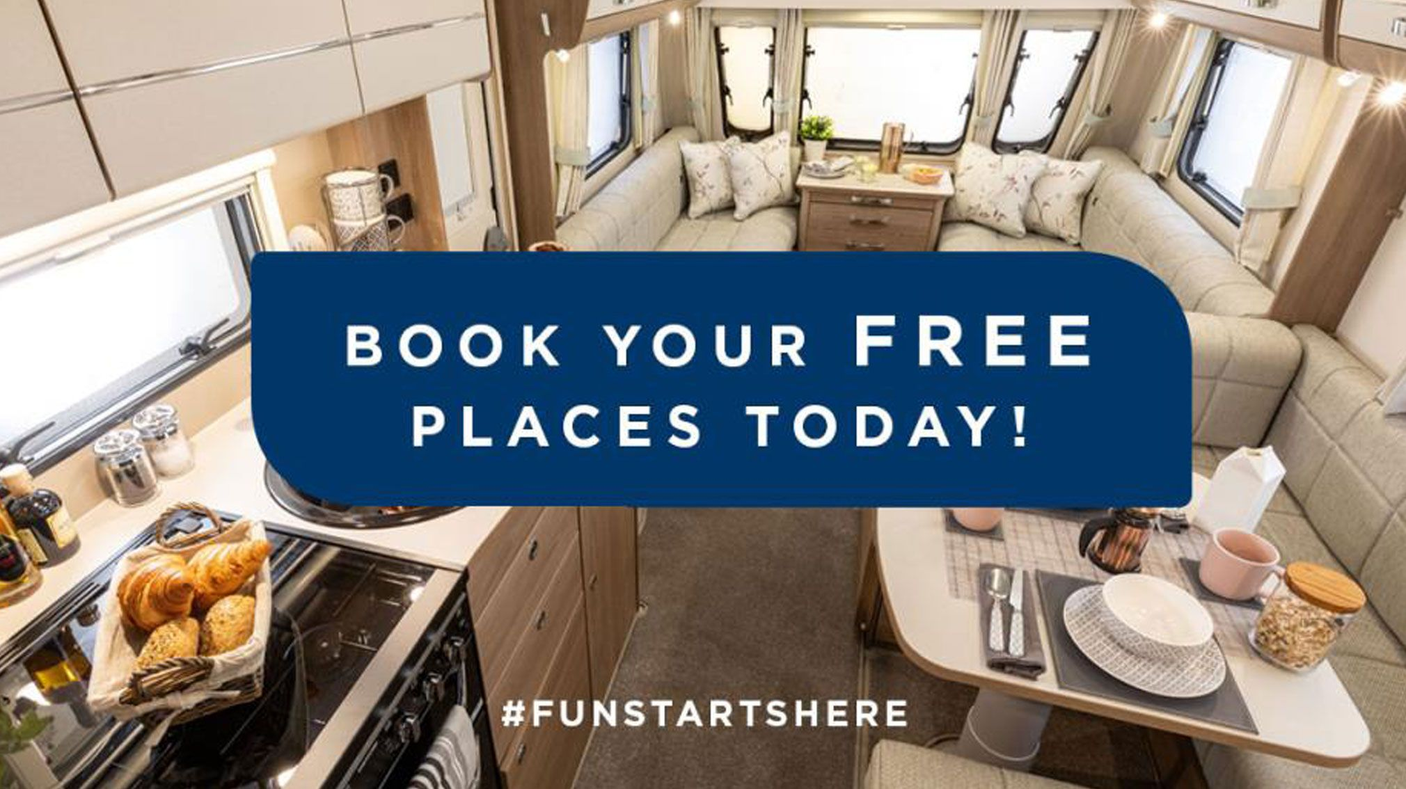 Caravan layout with book your free places today banner
