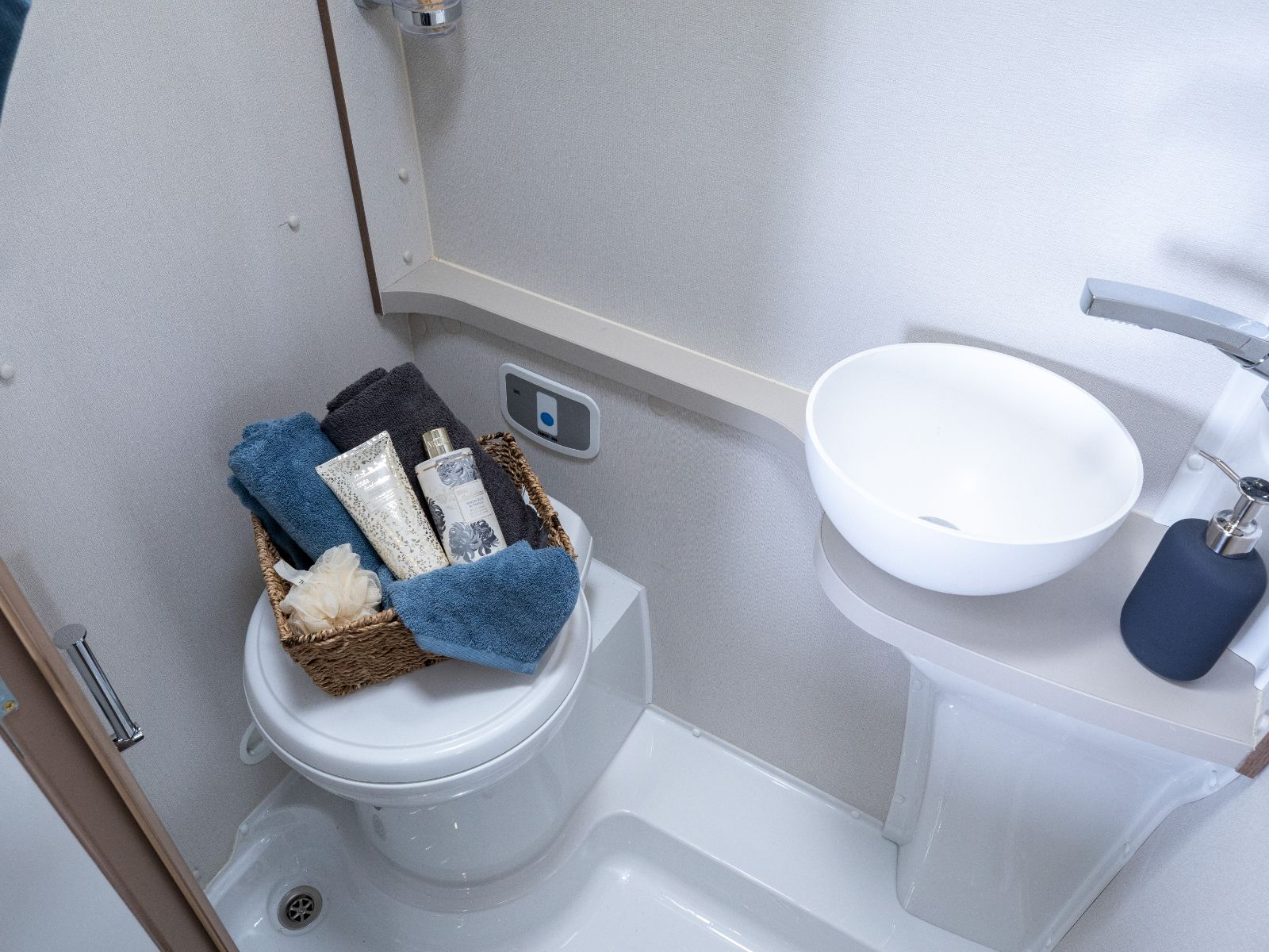 Bathroom view with toilet and toiletries accompanied with a sink'