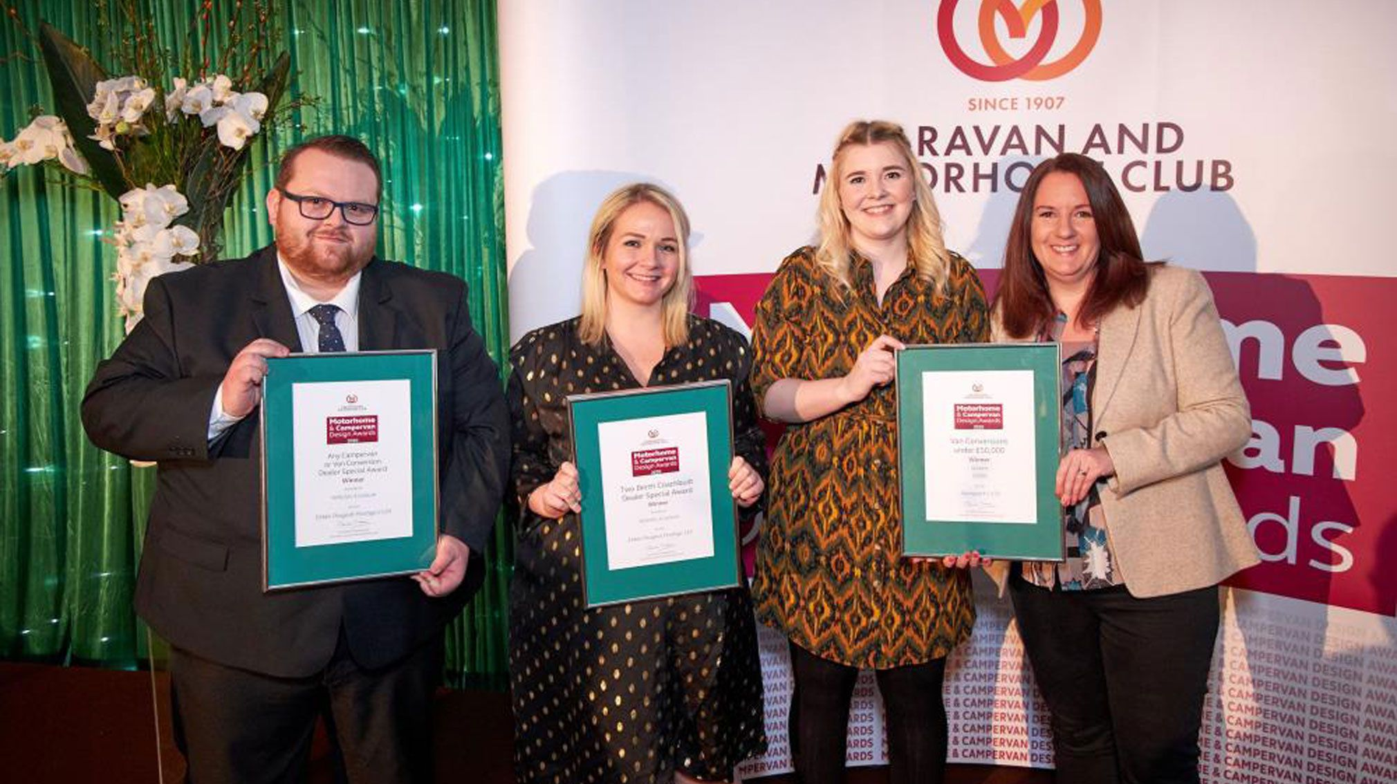 Elddis team receiving three caravan and motorhome club awards