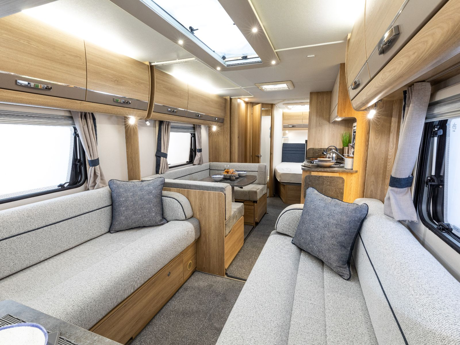 Chatsworth Caravan Lounge Are with Dining Area and Kitchen View'