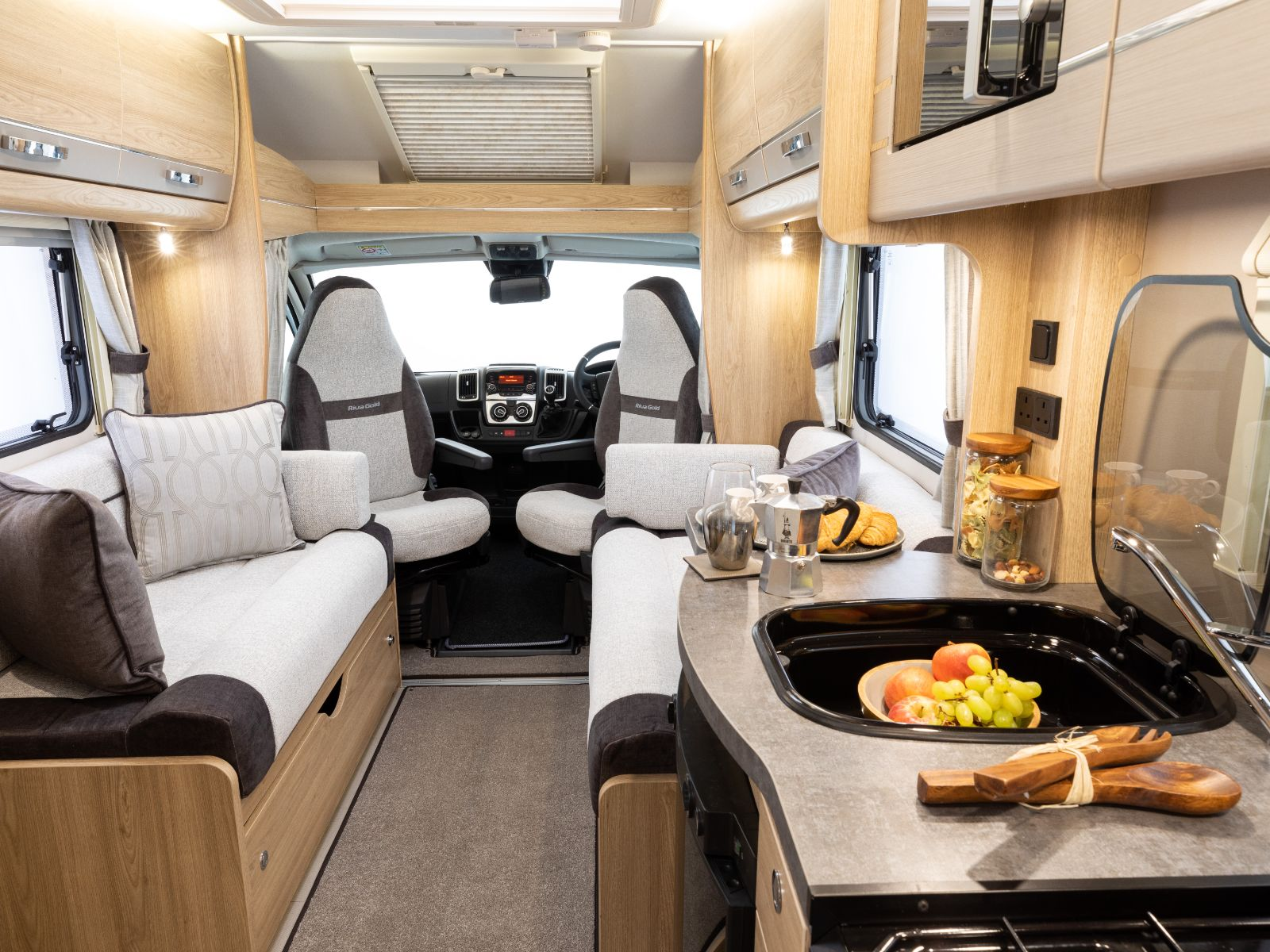 Riva Gold Motorhome Kitchen and Loune Area'