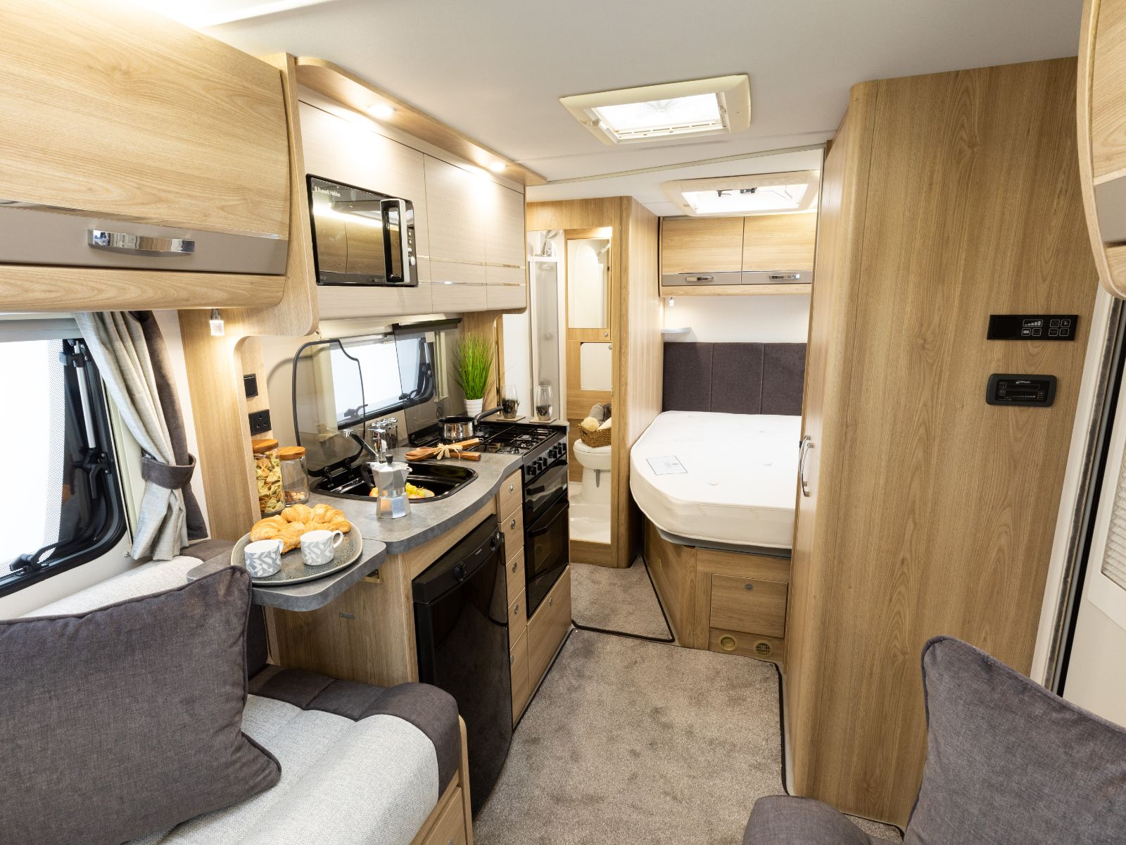 Riva Gold Motorhome Kitchen Area with Bedroom View'