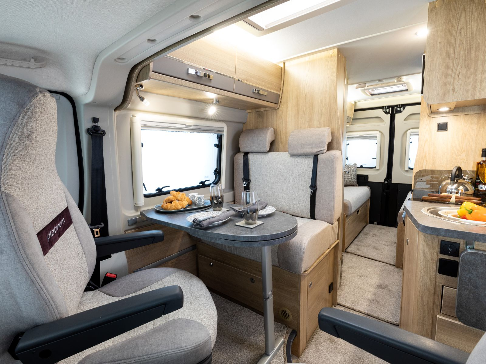 Platinum CV40 Passenger View of Kitchen and Dinette'