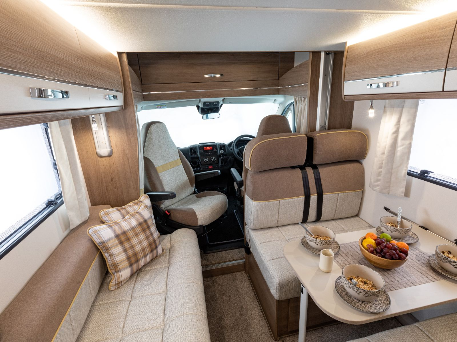 Front dining and lounge area looking into drivers cab '