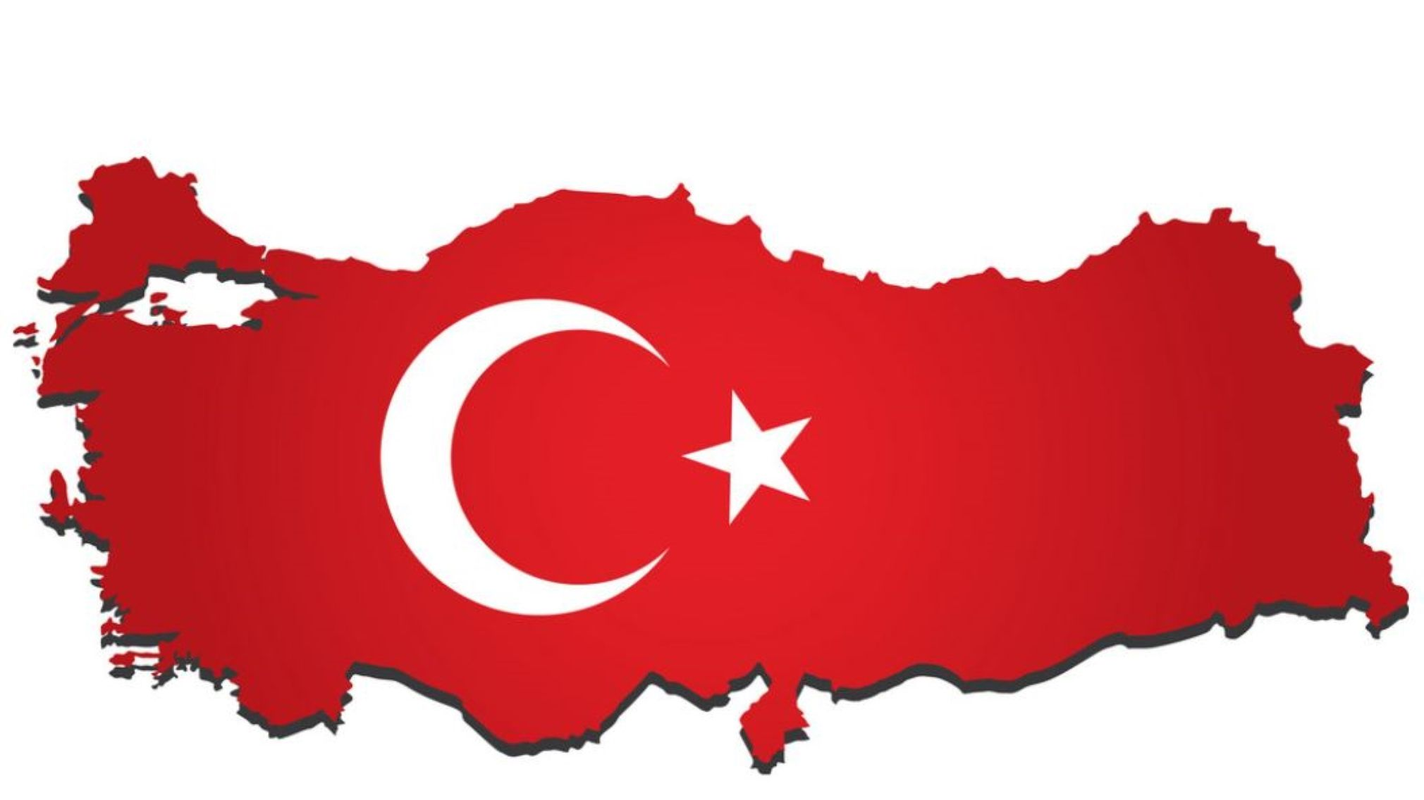 Outline of Turkey with Turkish flag in centre