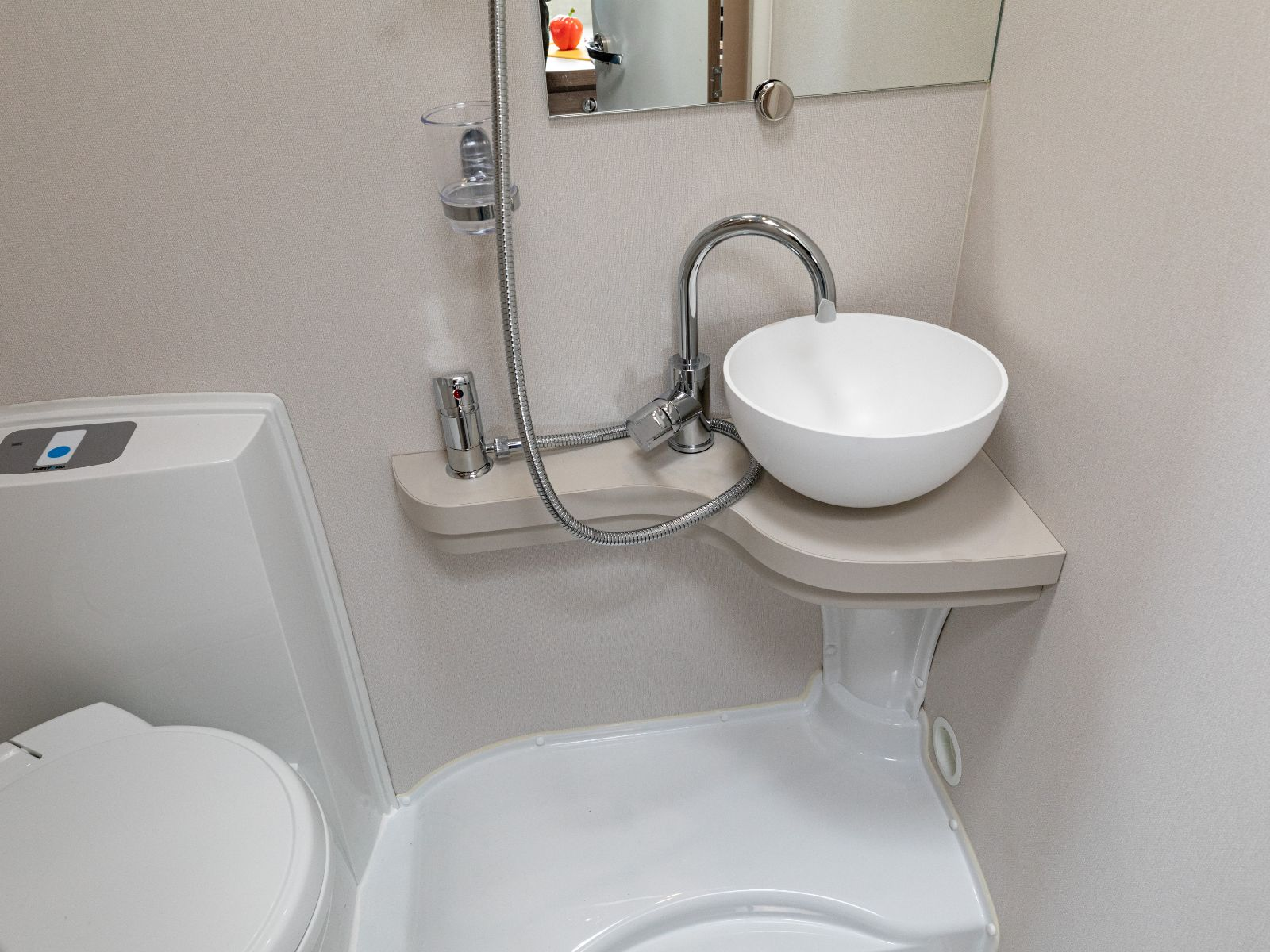 Bathroom with toilet, sink and shower '
