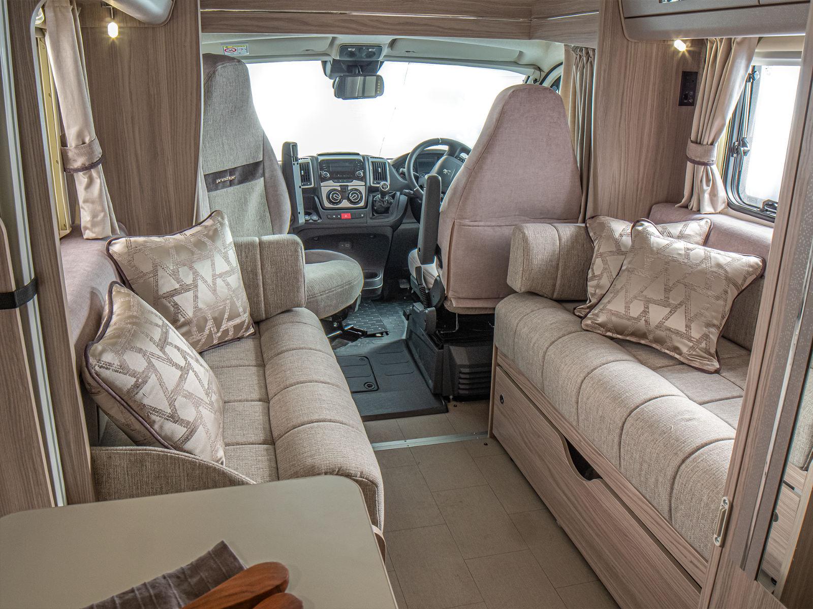 Prestige 150 front lounge looking into drivers cab '